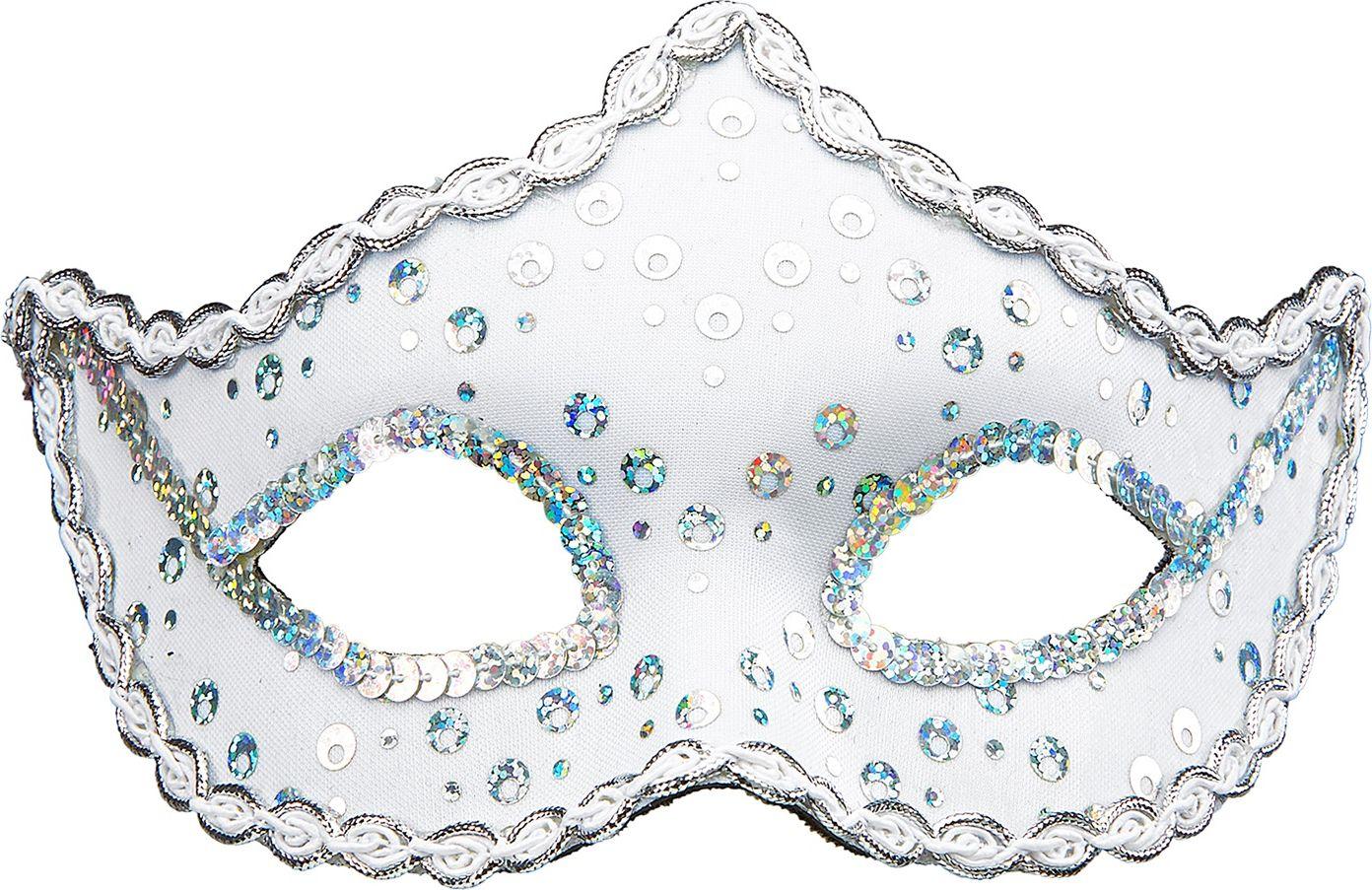 Witte pailletten Rialto oogmasker