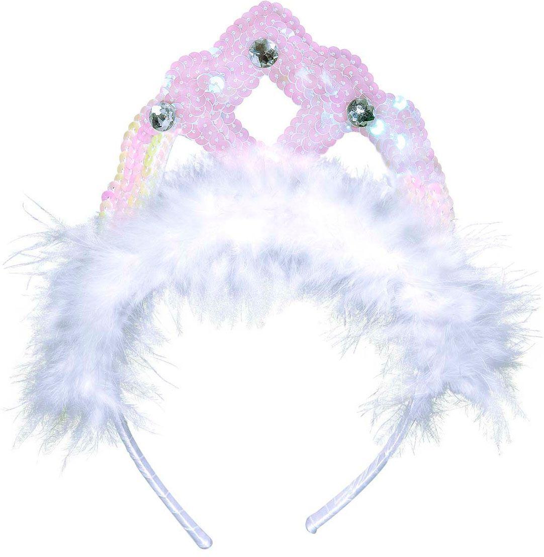 Witte pailletten tiara met veren