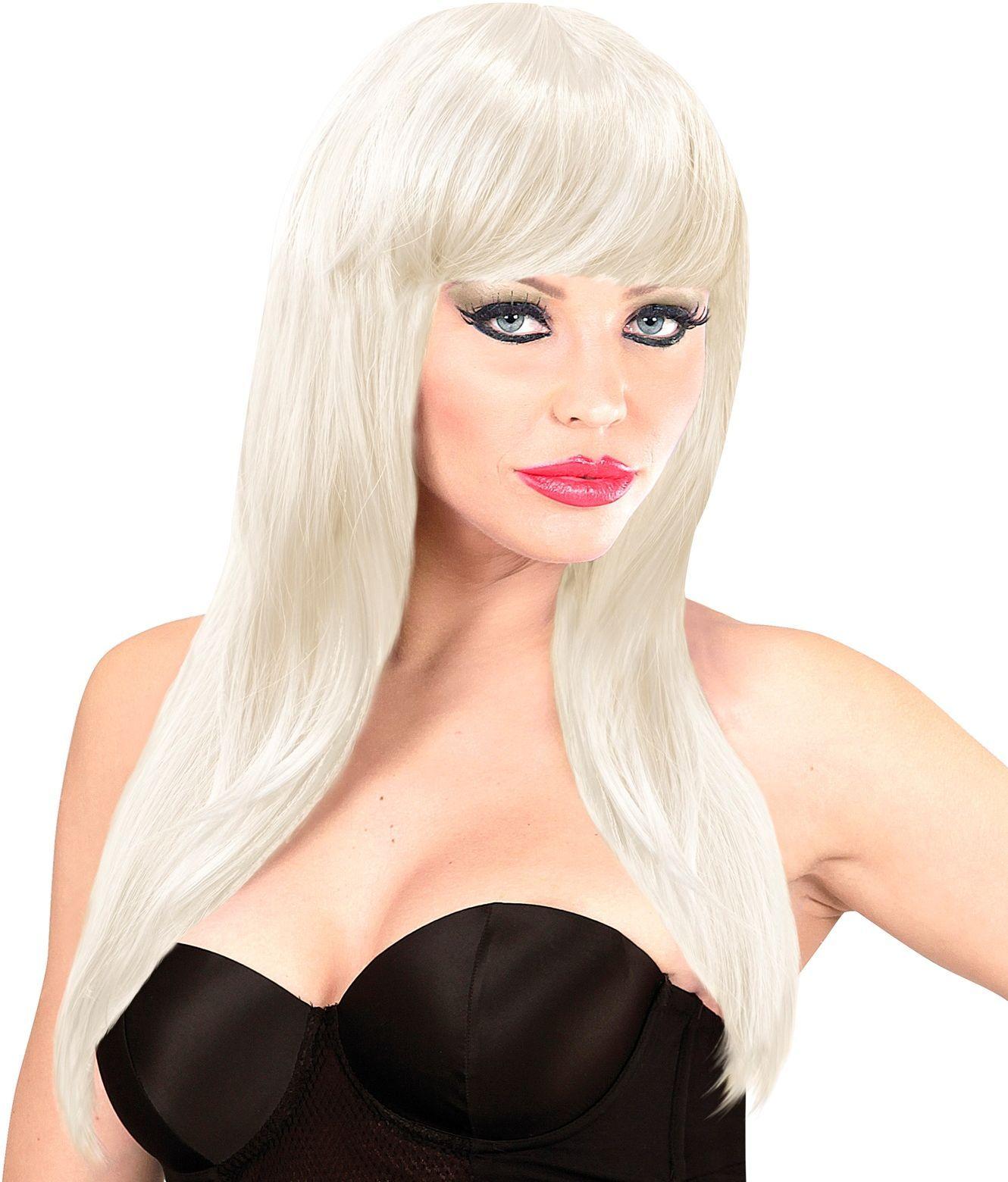Witte pruik lang haar