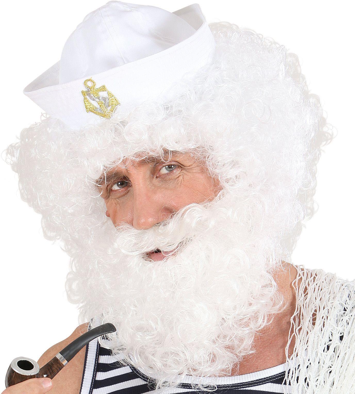 Witte pruik met krullen en baard
