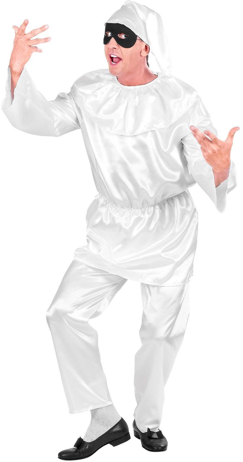Witte Pulcinella Kostuum