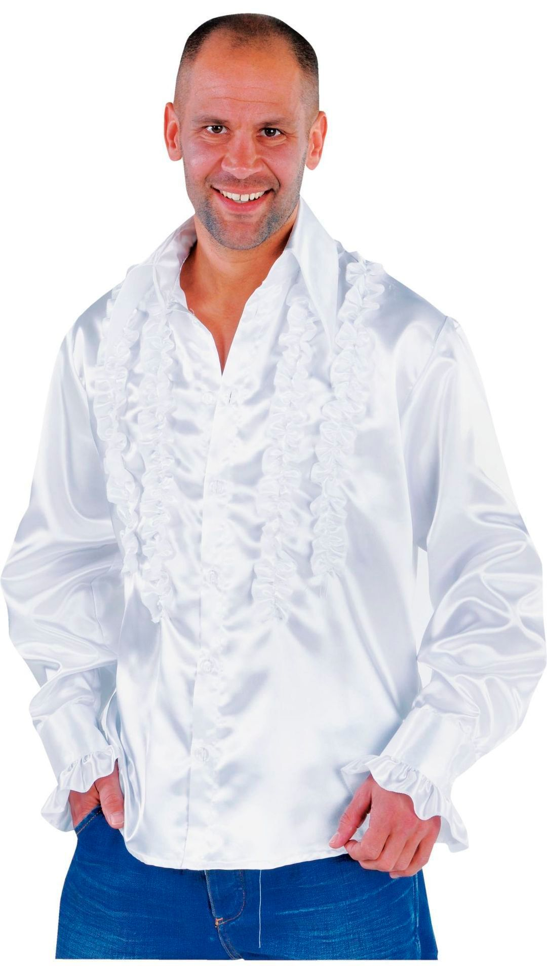 Witte rouches blouse heren