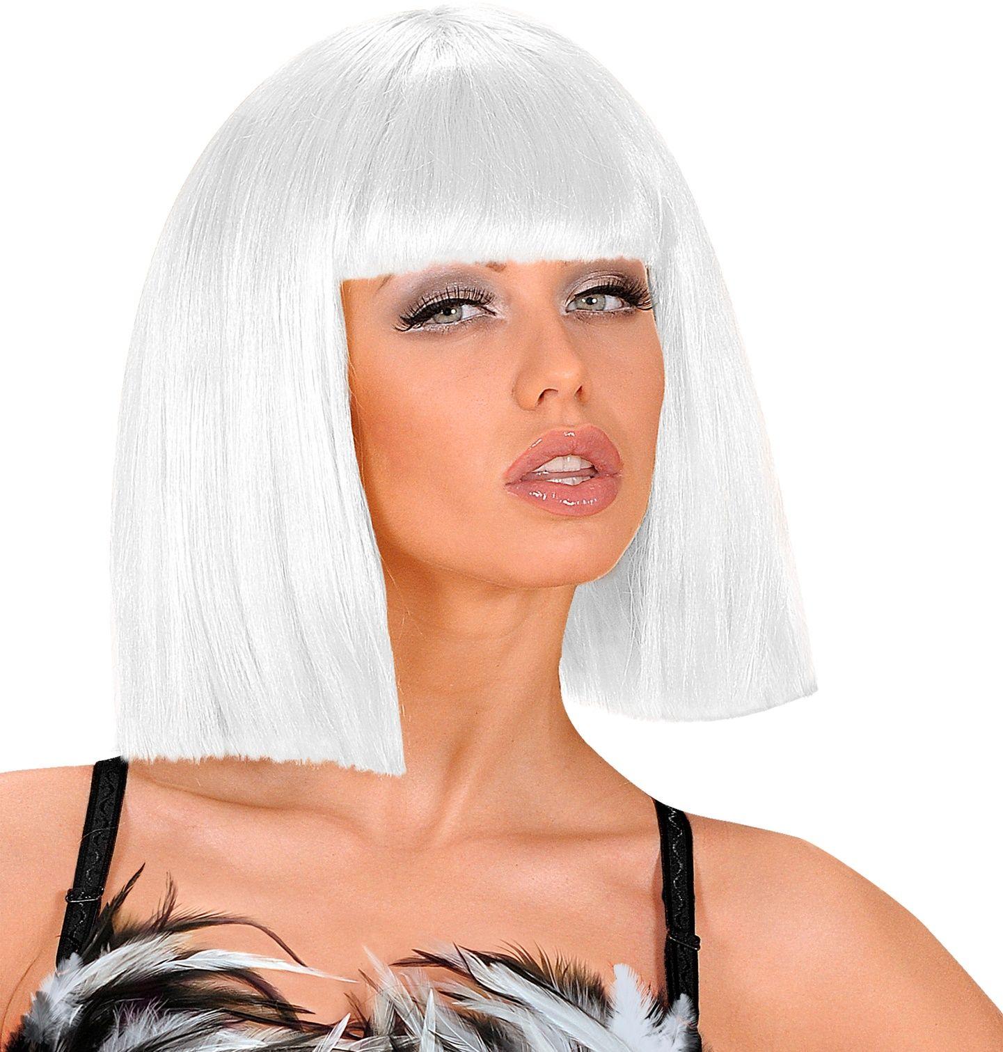 Witte showgirl pruik