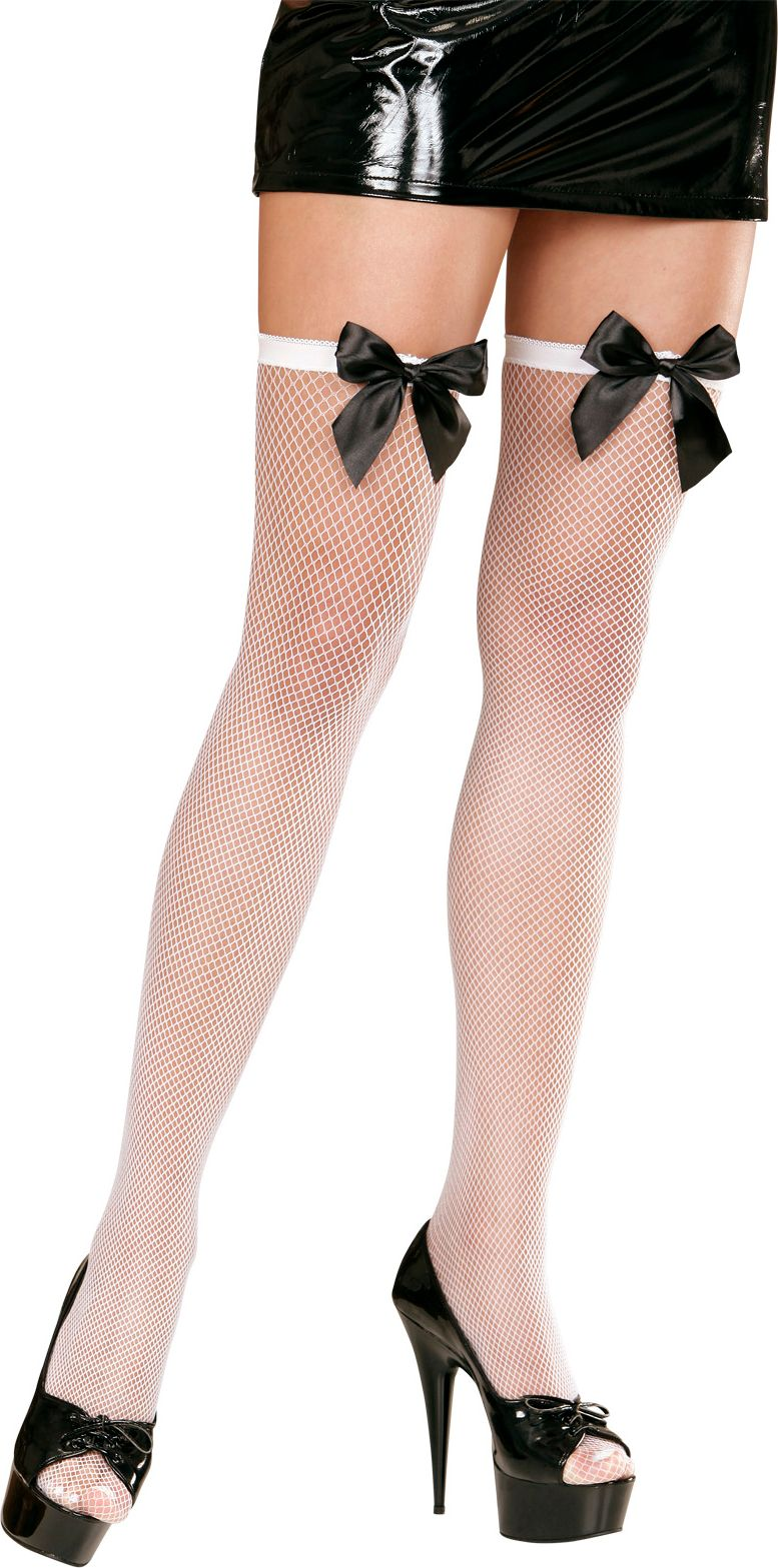 Witte visnet panty met zwarte strik