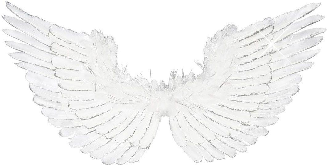 Witte vleugels met zilver glitter