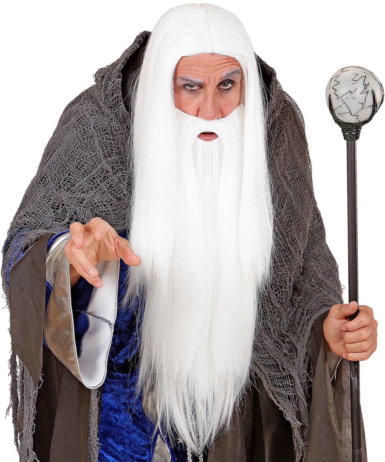 Wizard pruik met baard