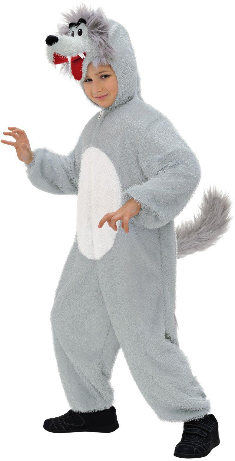 Wolf jumpsuit met dierenmasker kind