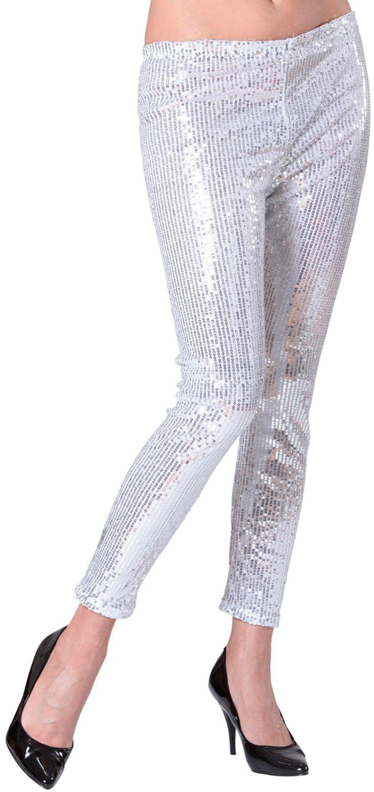 Zilver pailletten legging