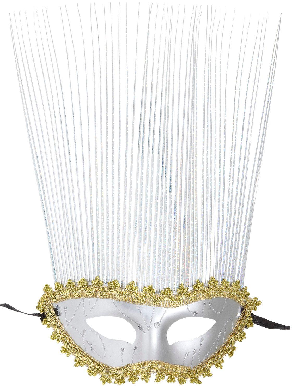 Zilveren carnival oogmasker met kuif
