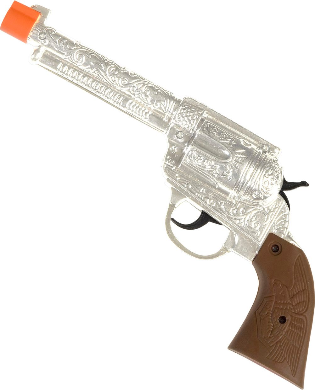 Zilveren cowboy revolver