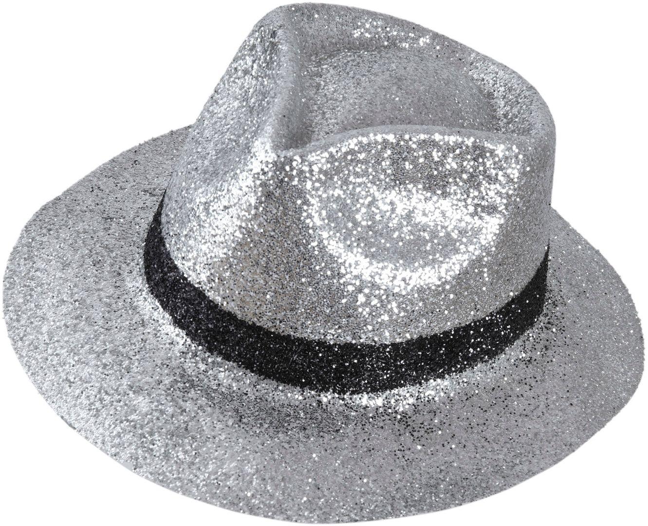 Zilveren fedora glitter hoed