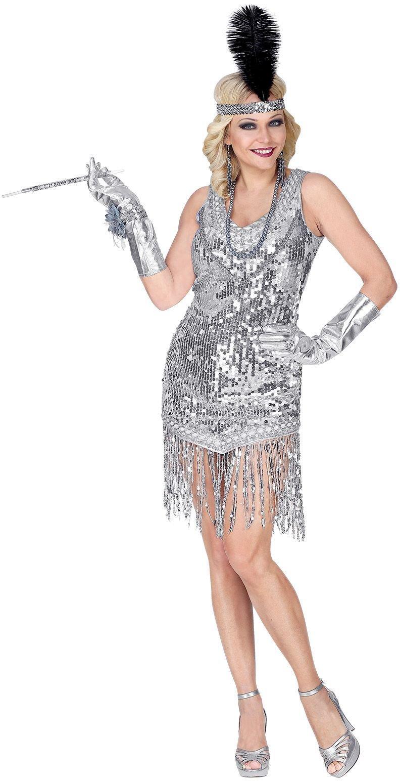 Zilveren flapper jurk 20s vrouwen