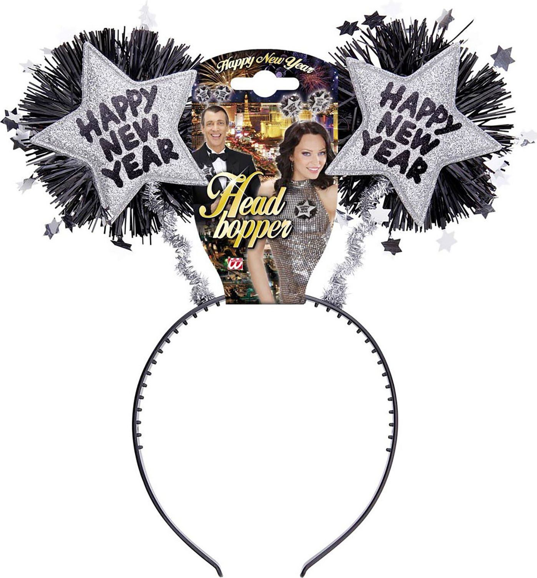 Zilveren gelukkig nieuwjaar hoofdband