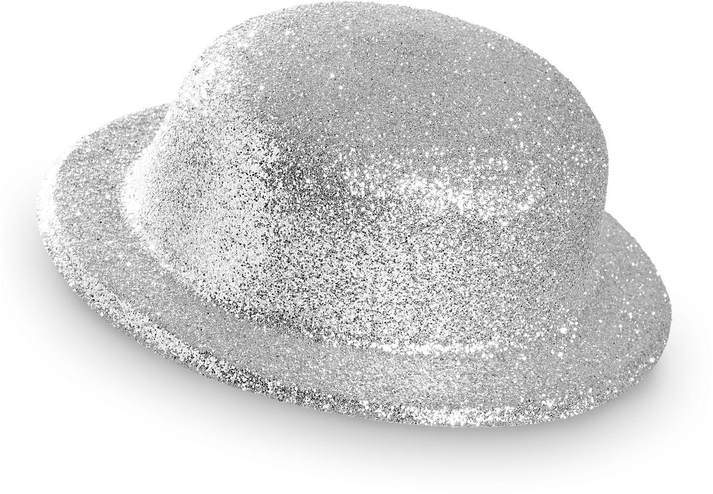 Zilveren glitter bolhoed