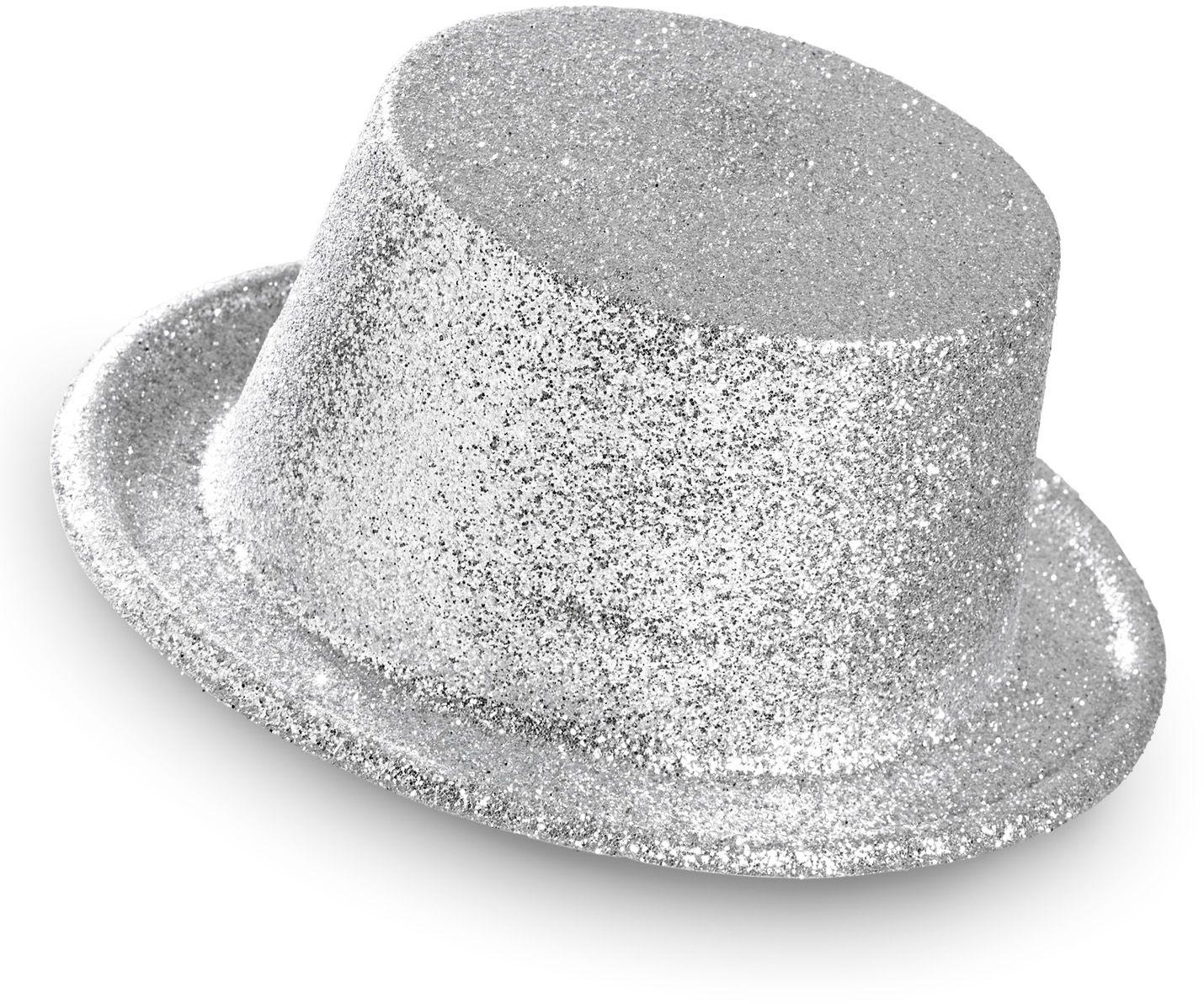 Zilveren glitter hoge hoed
