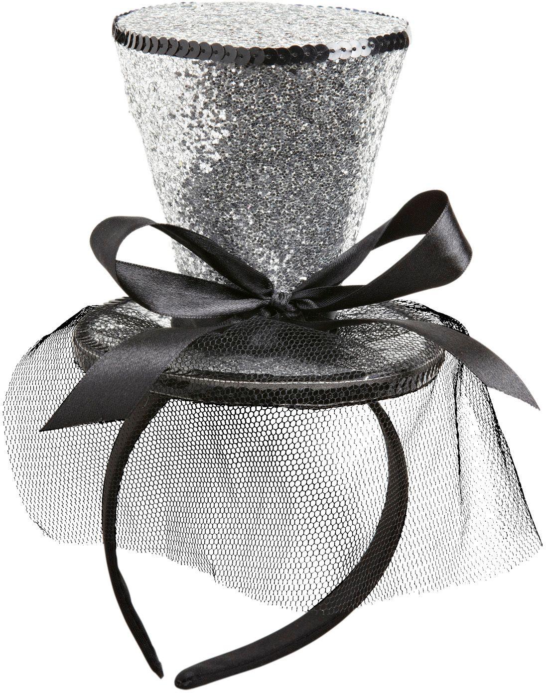 Zilveren glitter mini hoge hoed