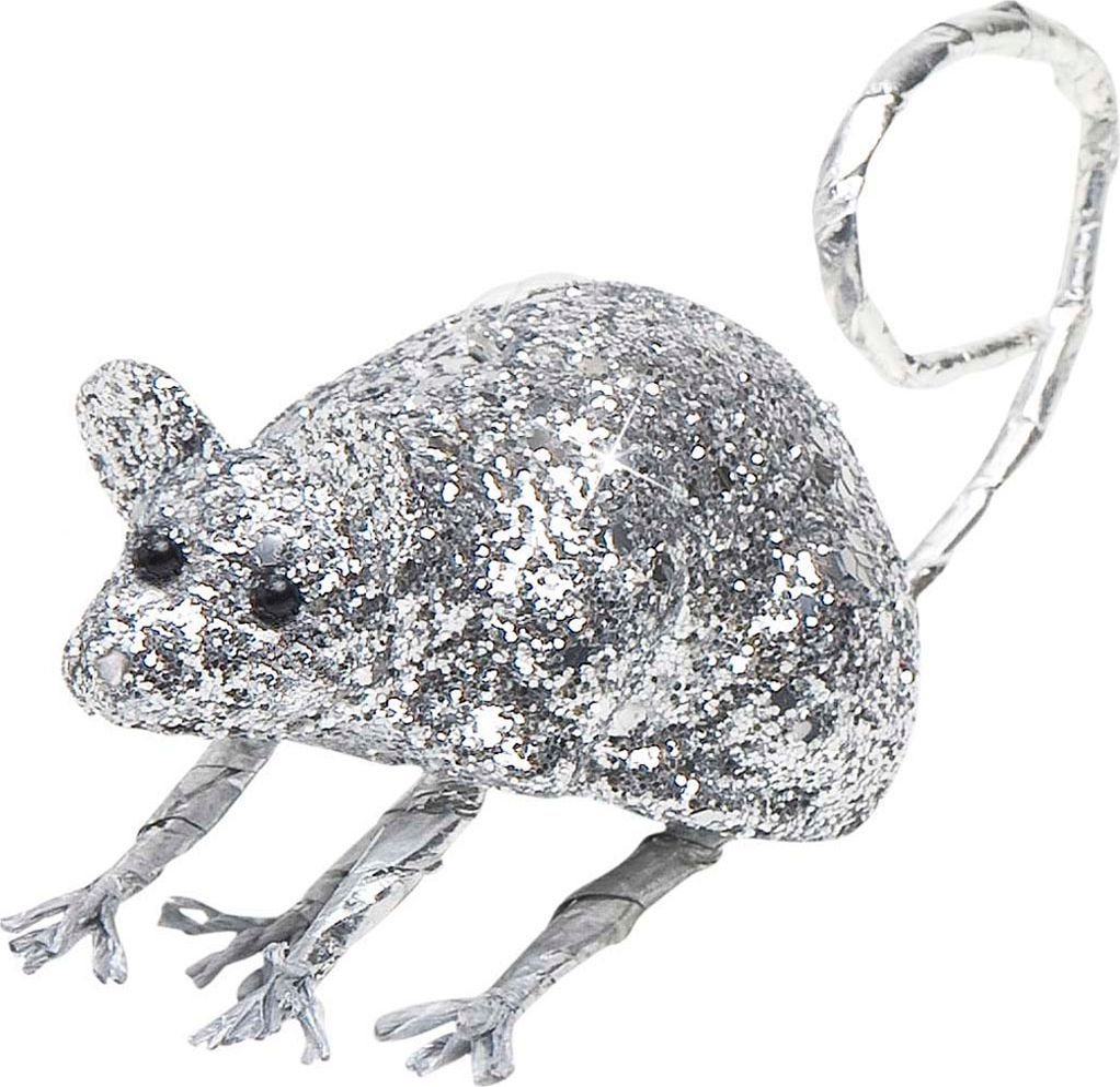 Zilveren glitter muis