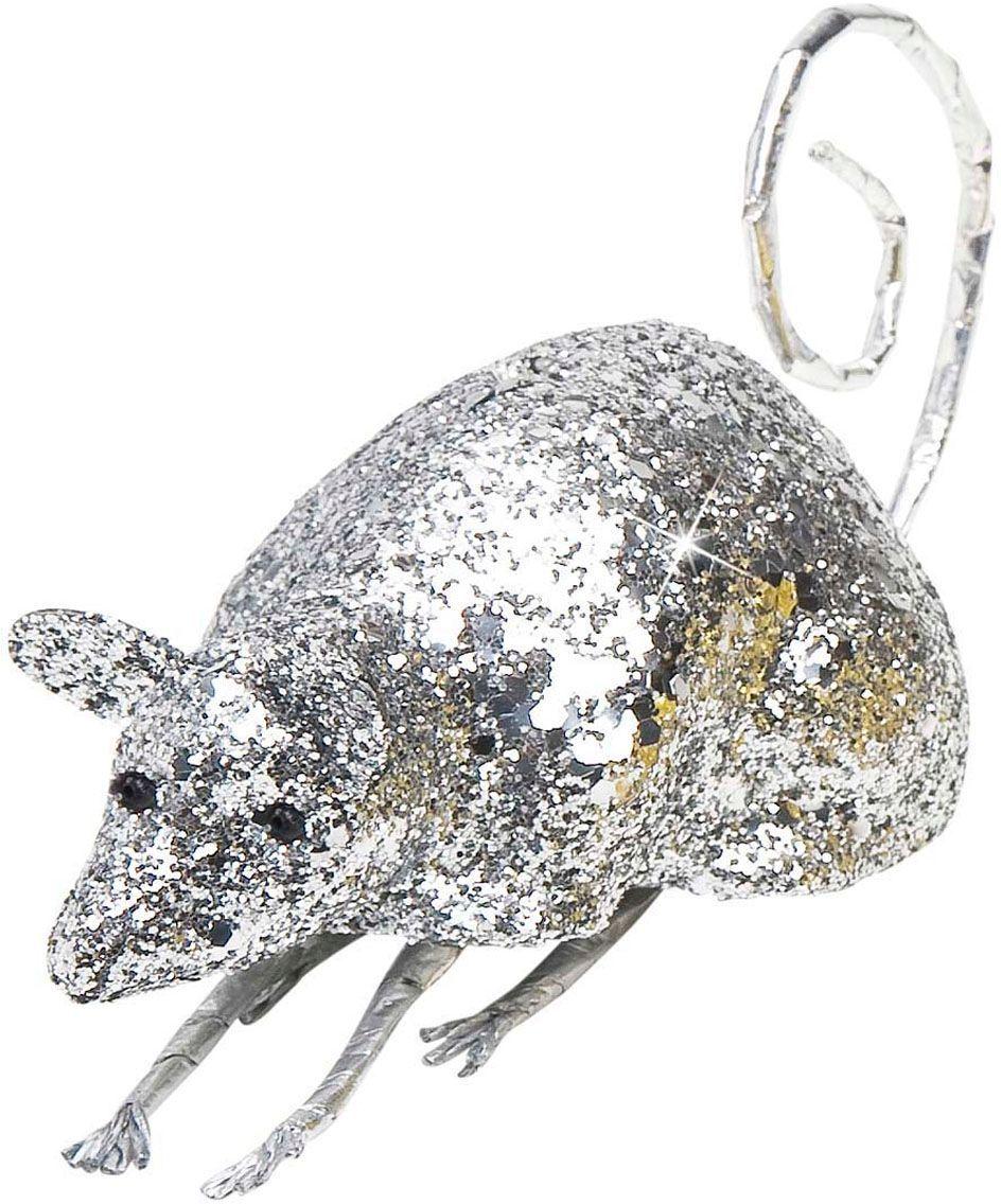 Zilveren glitter muis decoratie