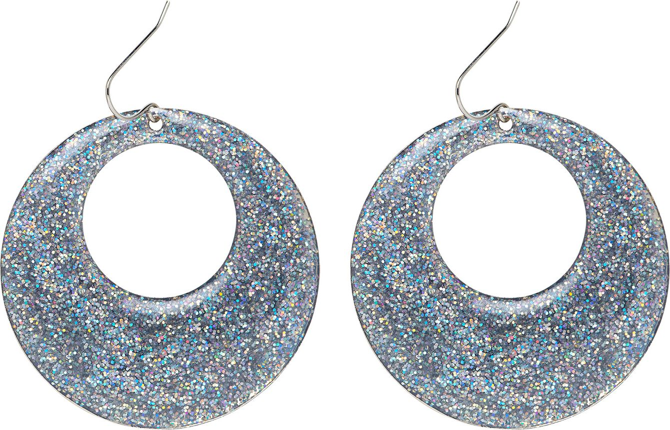 Zilveren glitter oorbellen