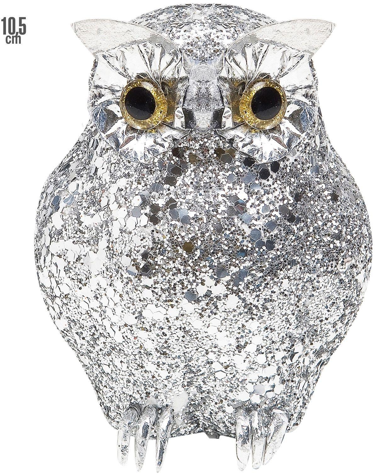 Zilveren glitter uil