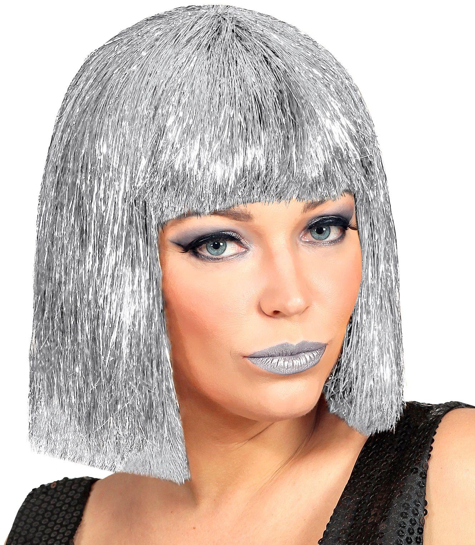 Zilveren glitters Vegas pruik