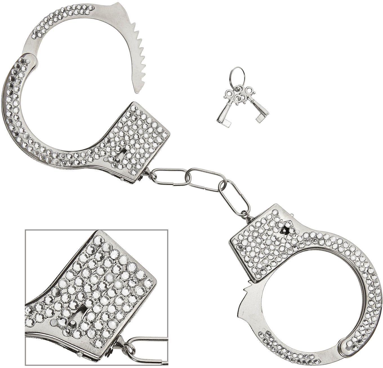 Zilveren handboeien met rijnsteen