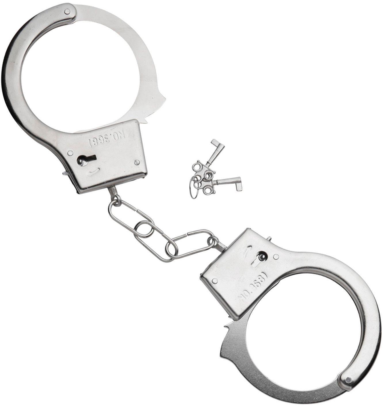 Zilveren handboeien met sleutel