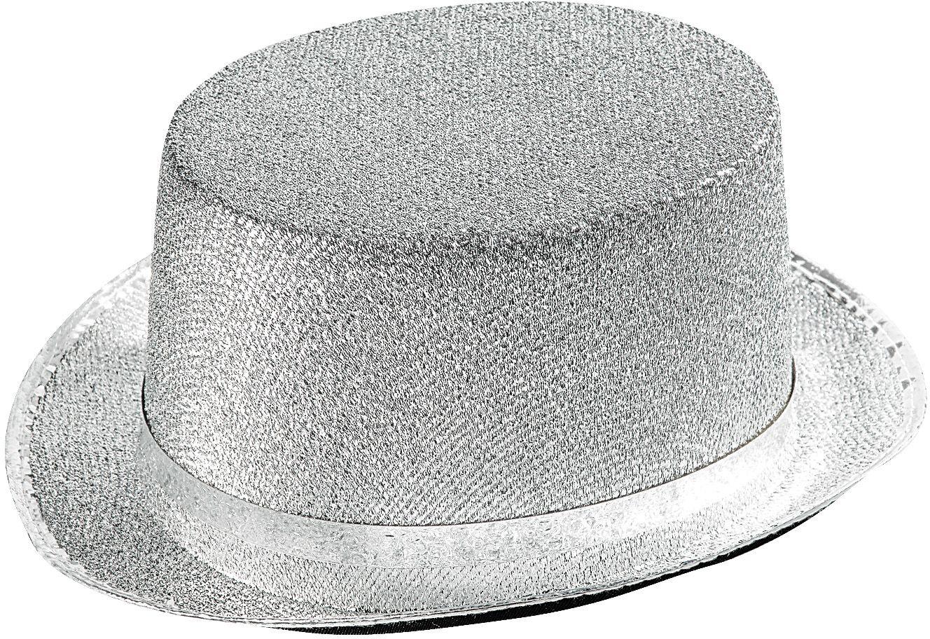 Zilveren lurex hoge hoed