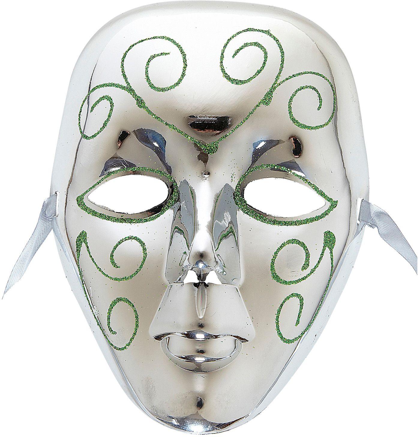 Zilveren masker met groene glitters