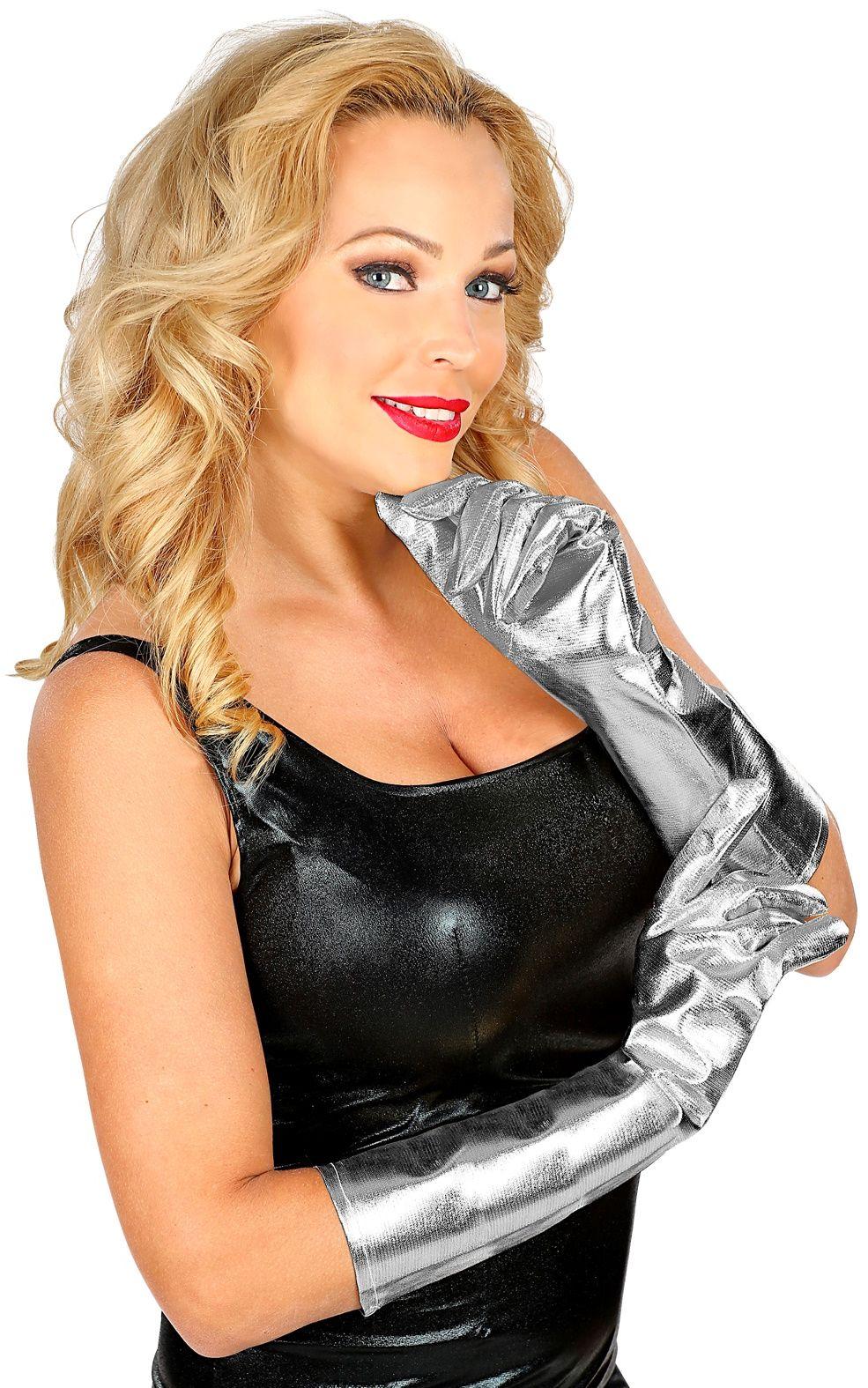 Zilveren metallic handschoenen
