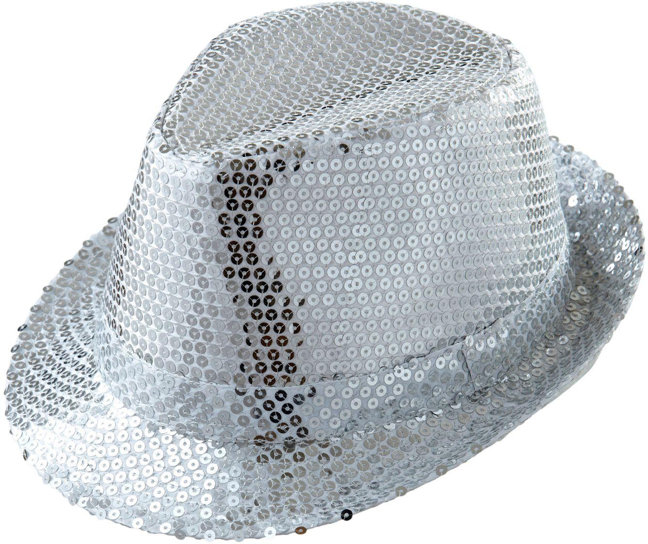 Zilveren pailletten fedora