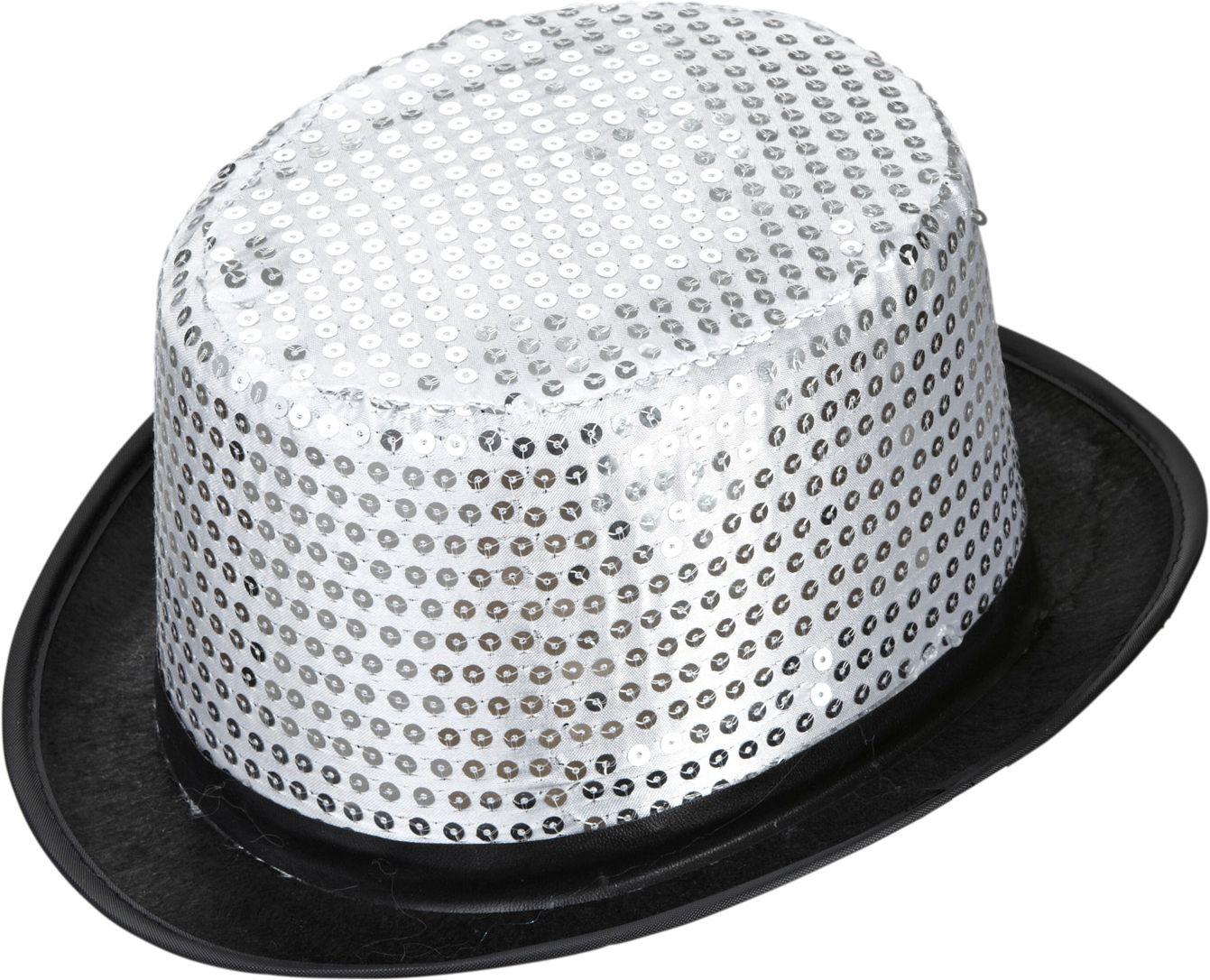 Zilveren pailletten hoge hoed