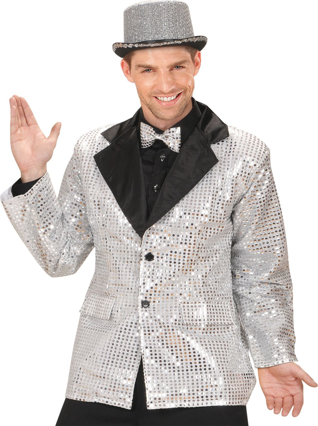 Zilveren pailletten jas