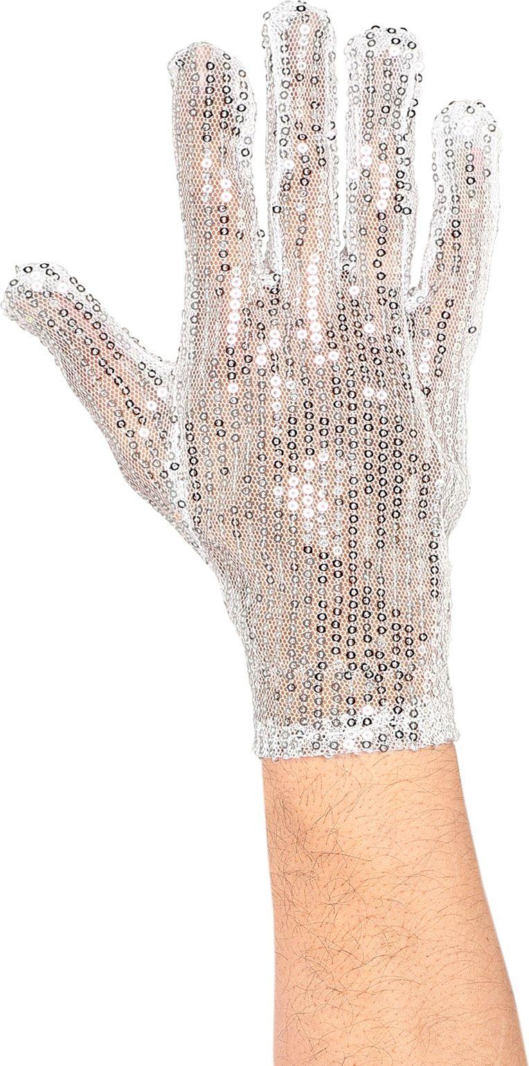 Zilveren pailletten rechtshandige handschoen