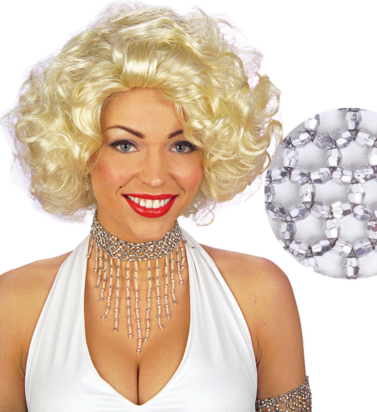Zilveren parel nekband