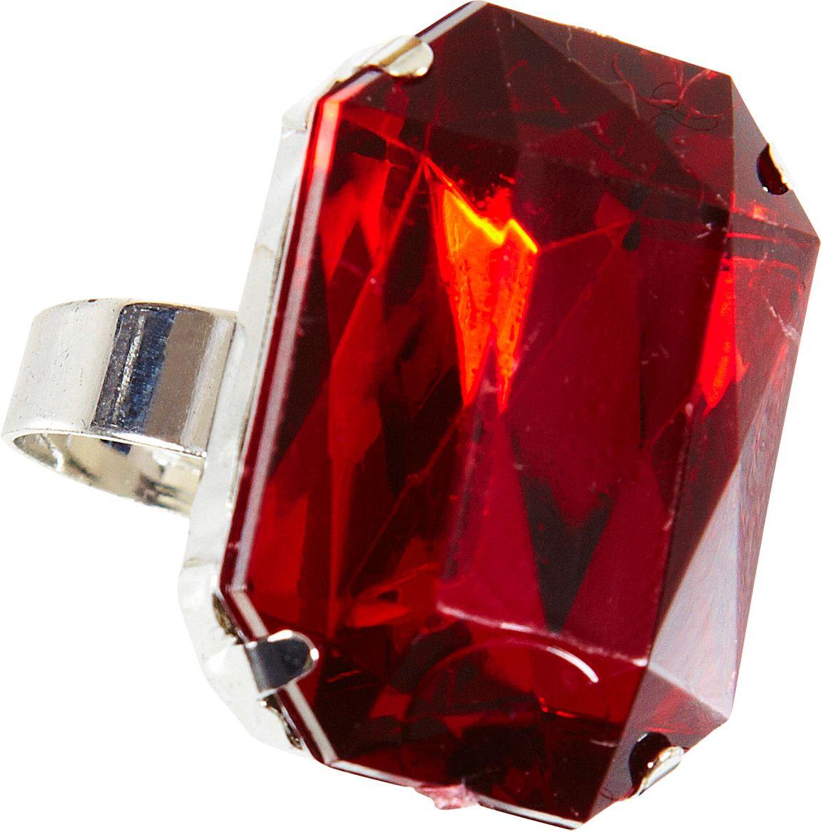 Zilveren ring met rood juweel