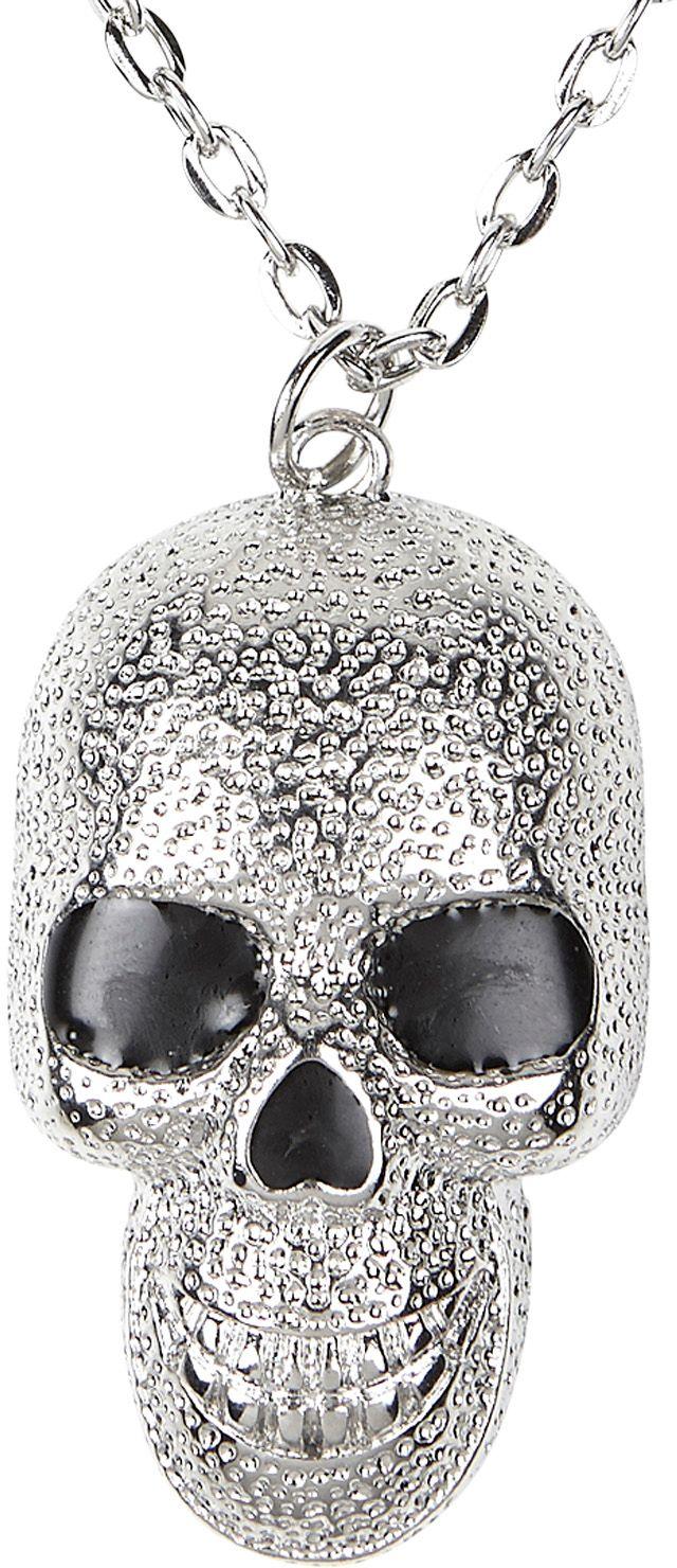 Zilveren schedel halloween ketting