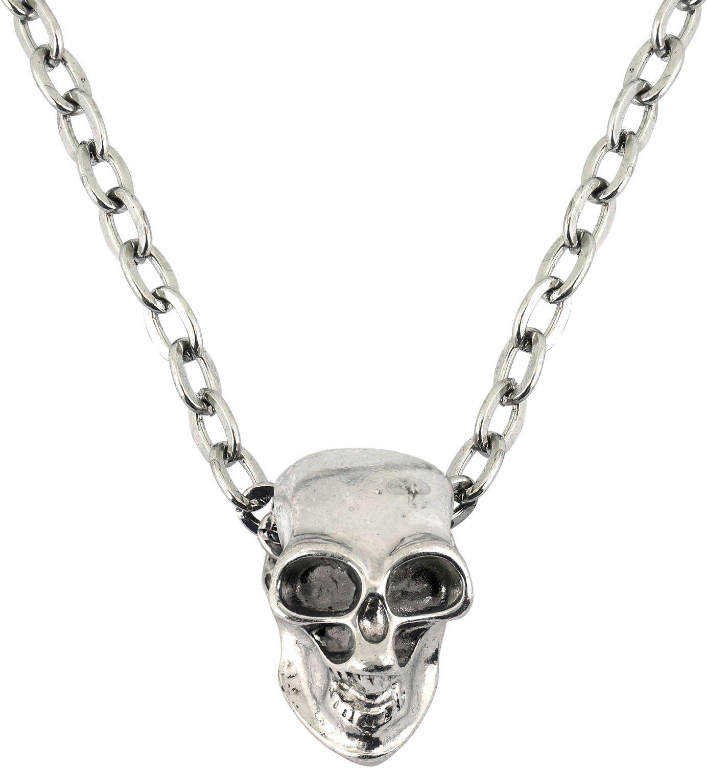 Zilveren schedel ketting