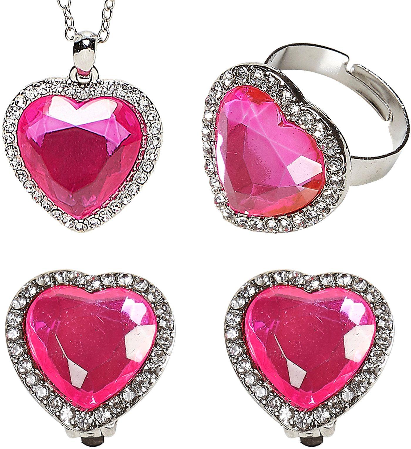 Zilveren sieraden set met hartjes