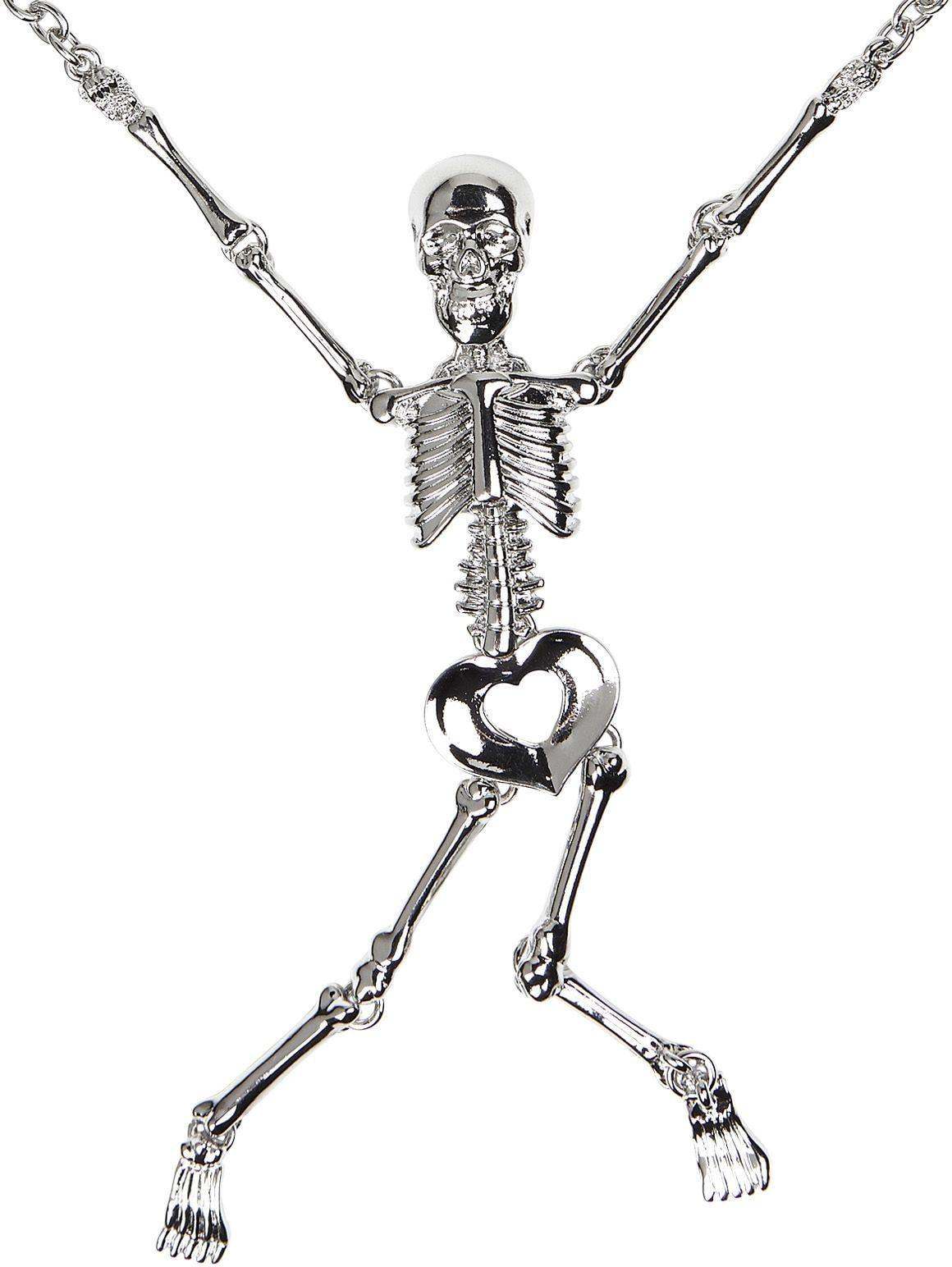 Zilveren skelet ketting