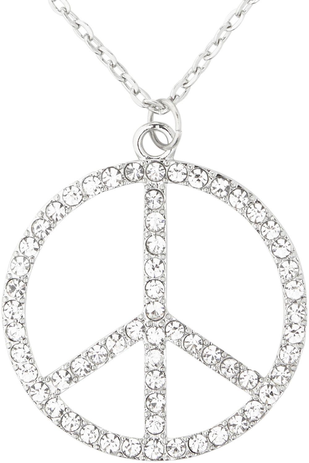 Zilveren strass hippie ketting