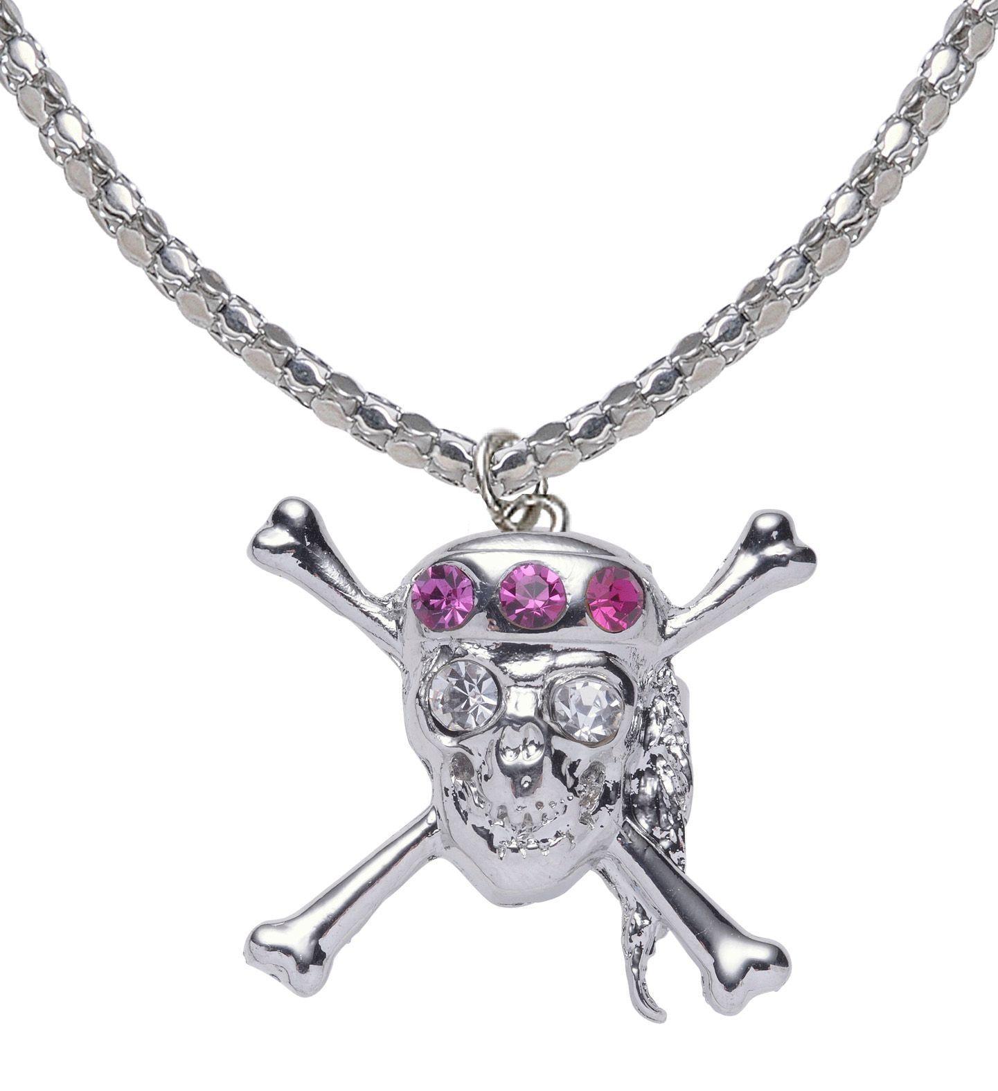 Zilveren strass schedel ketting