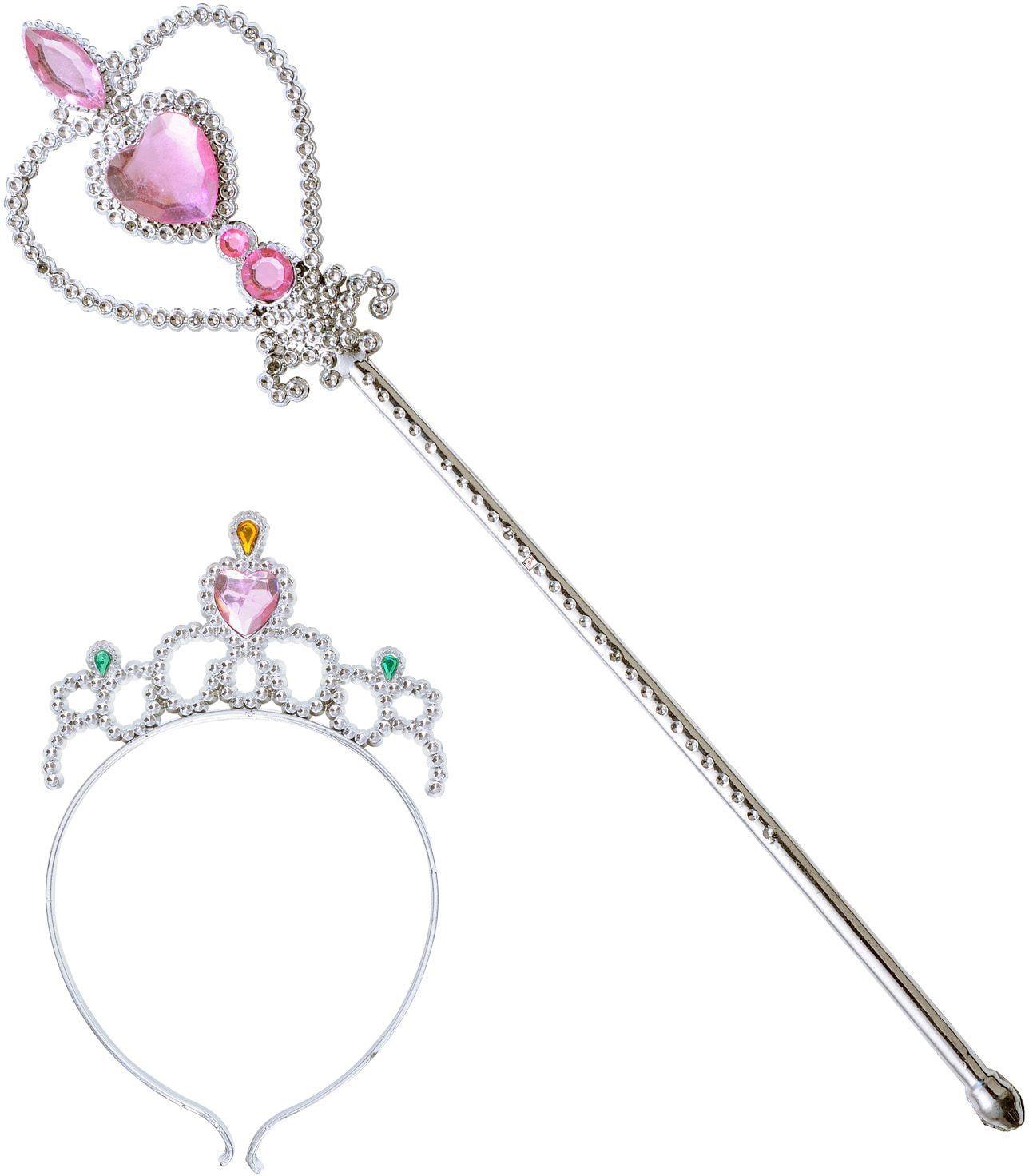 Zilveren tiara en staf met roze juwelen