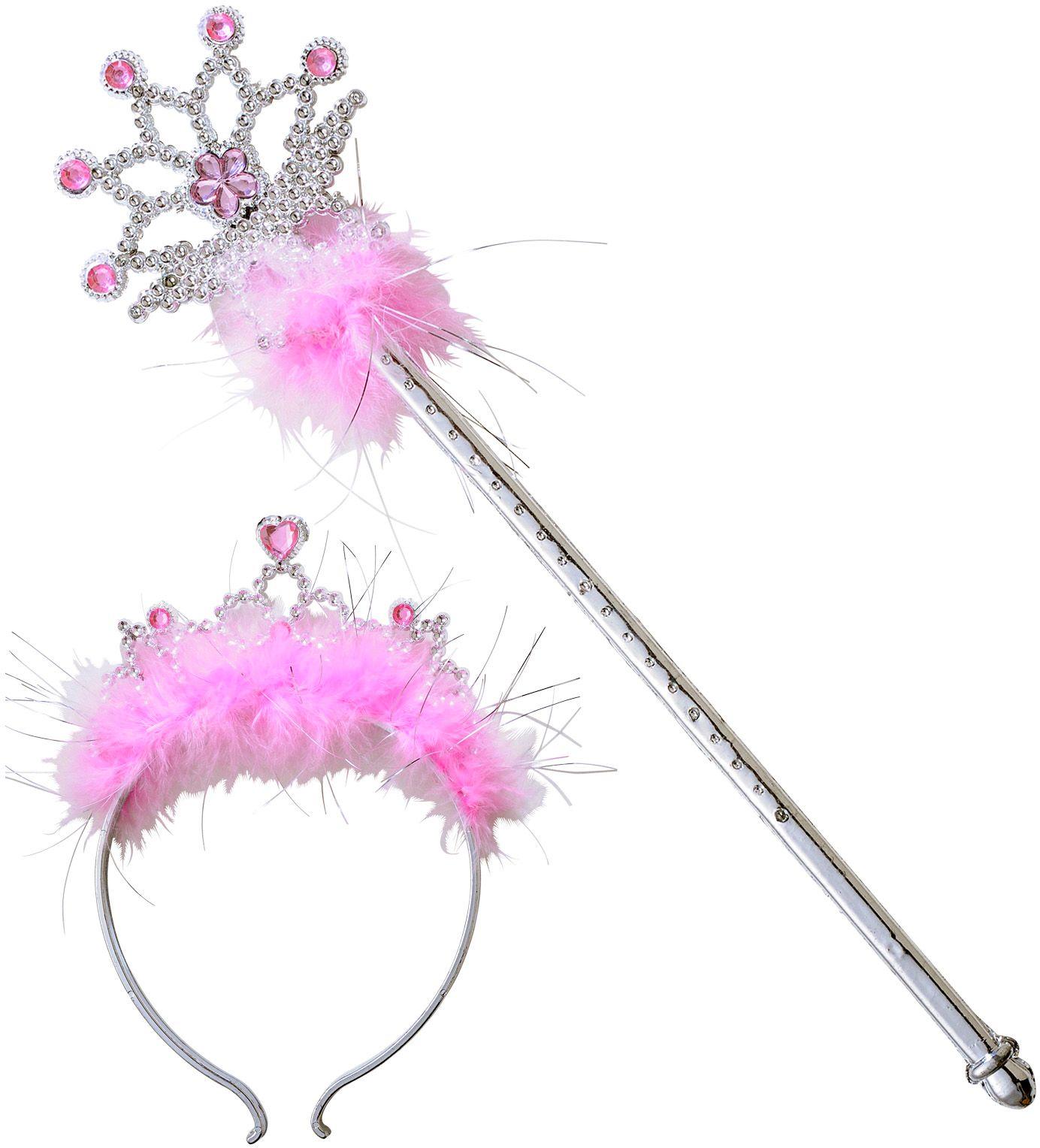 Zilveren tiara en staf met roze juwelen en marabou