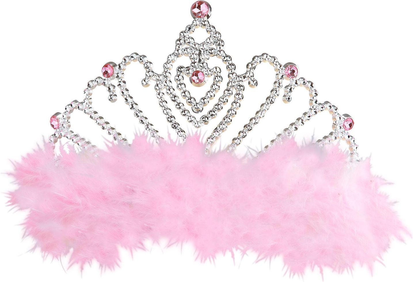 Zilveren tiara met roze marabou