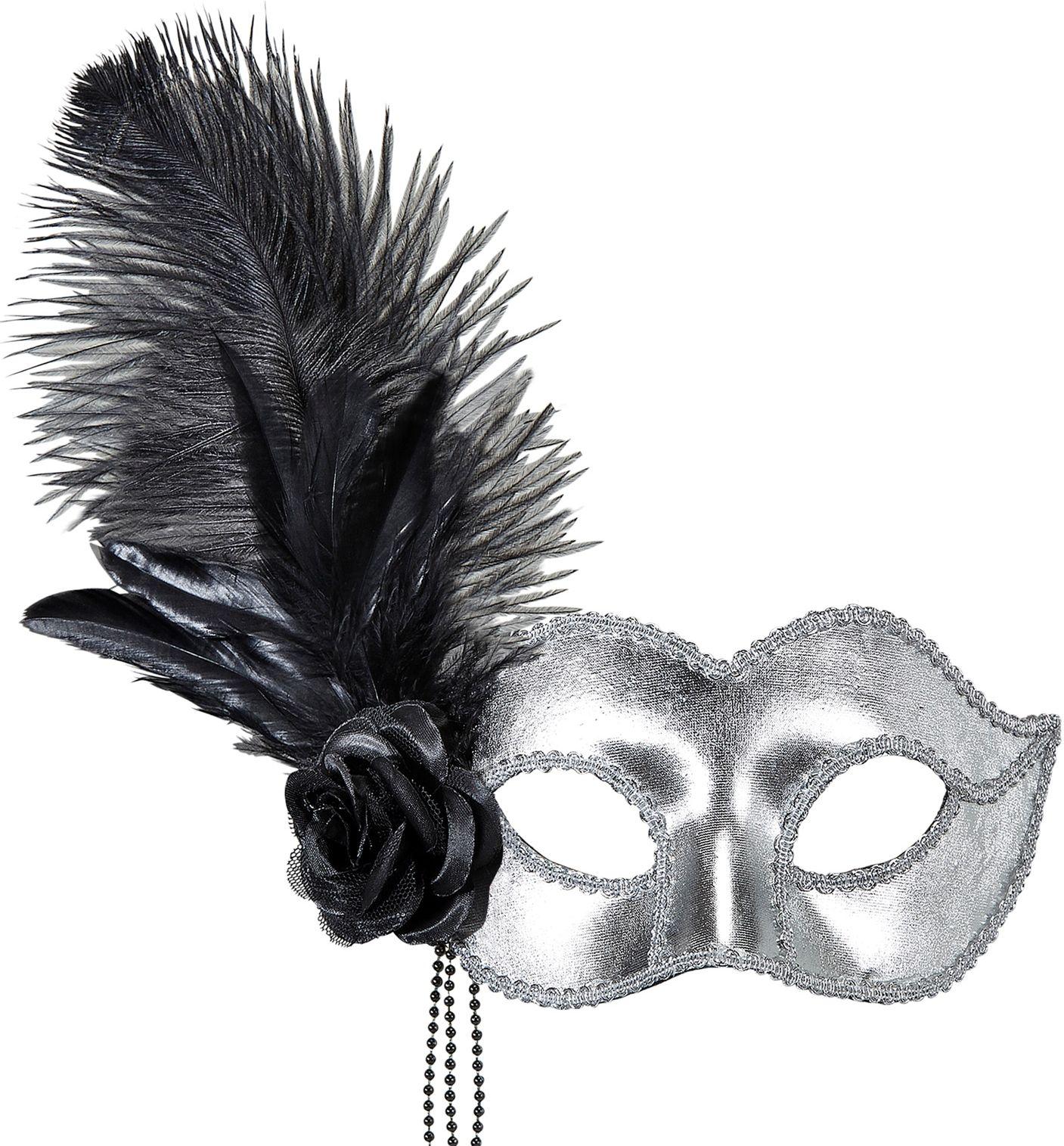 Zilveren venetiaans oogmasker met veren en roos