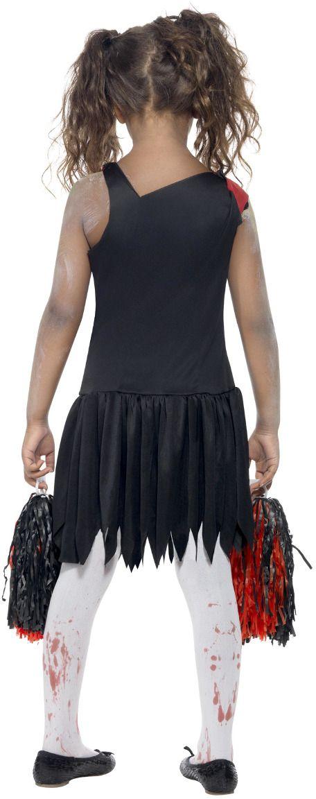 Zombie cheerleader zwart rood kostuum