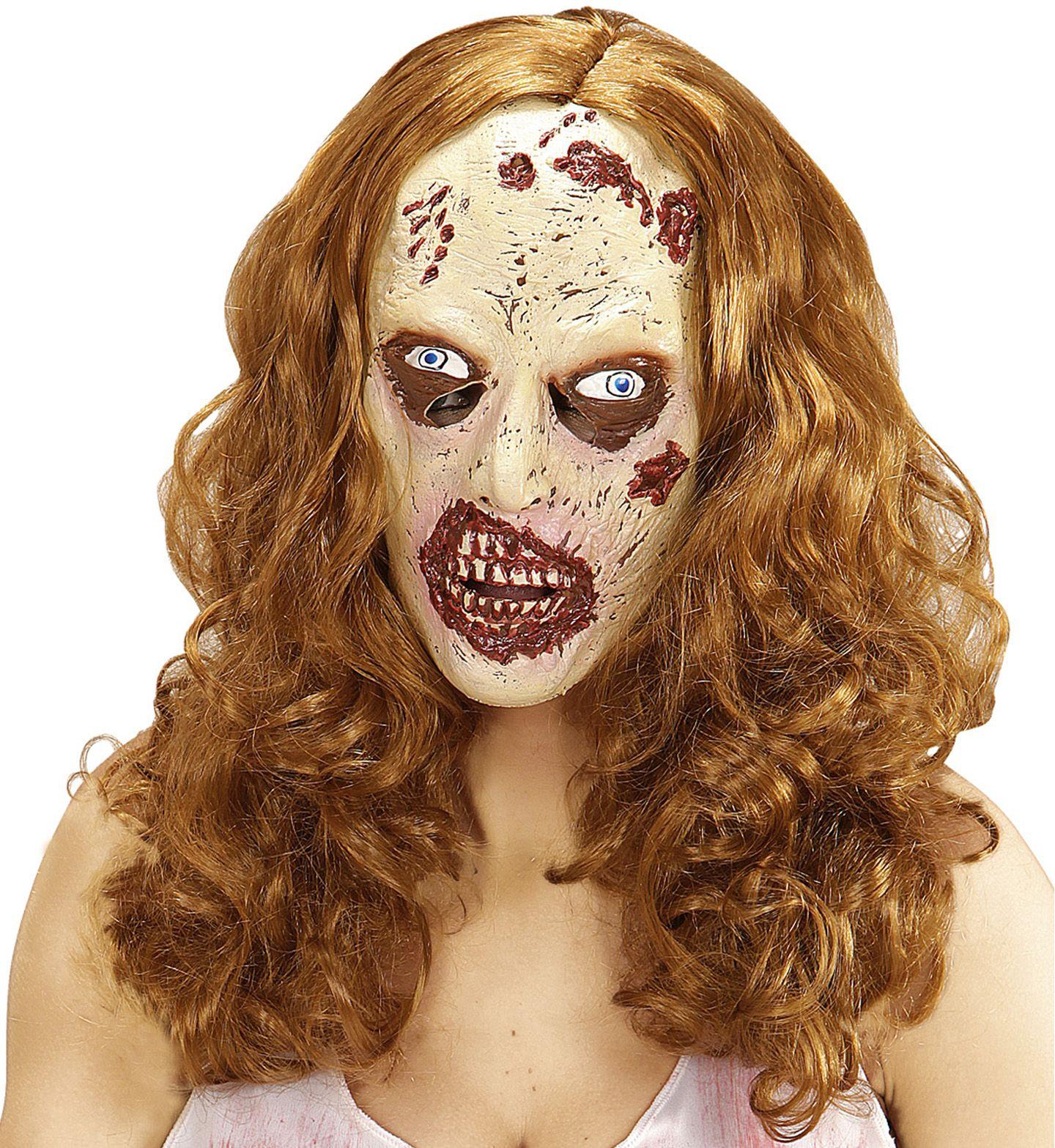 Zombie masker met bruin haar