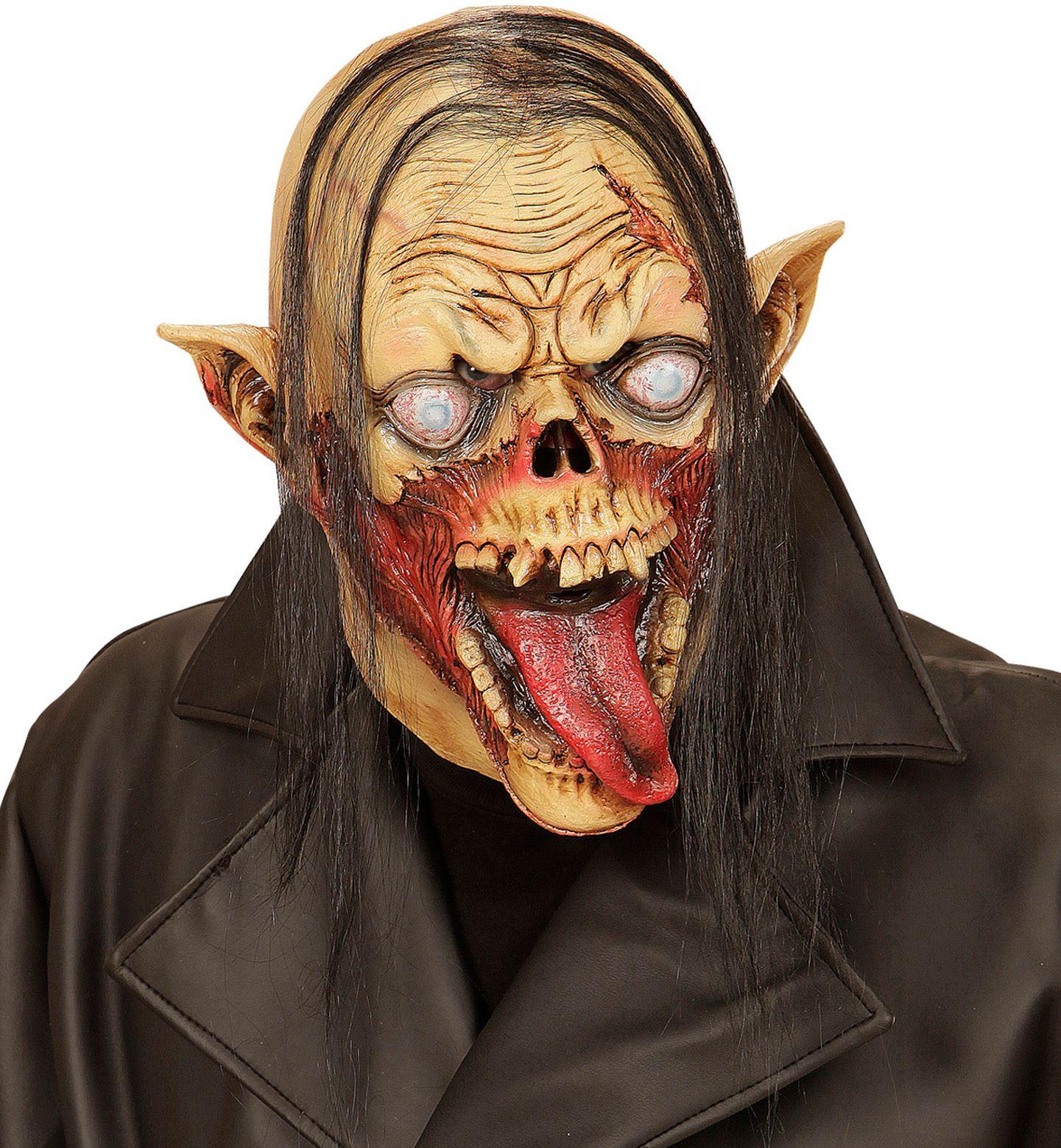 Zombie vampier masker met haar