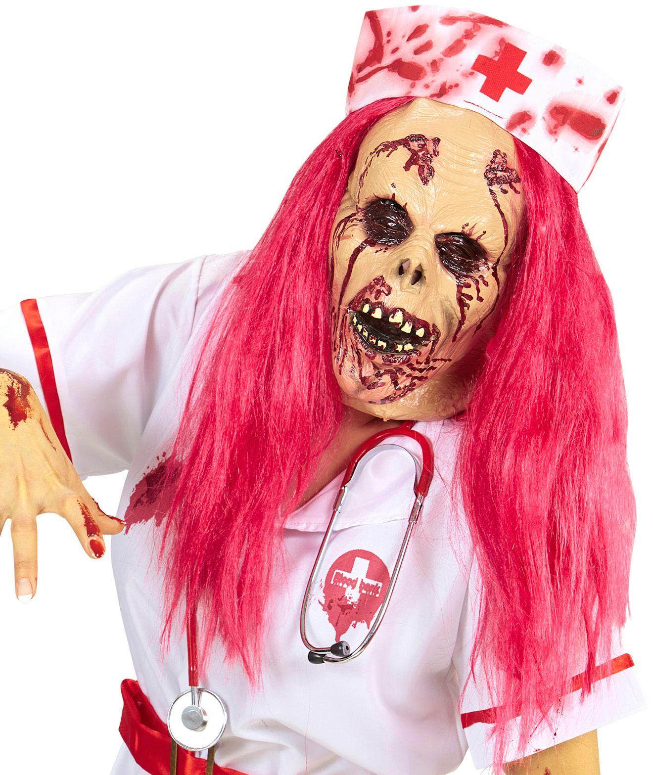 Zombie verpleegster masker met pruik